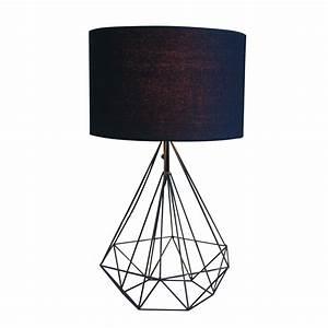 Lampe à Clipser : lampe poser design metropolis noire en m tal et tissu keria luminaires ~ Teatrodelosmanantiales.com Idées de Décoration