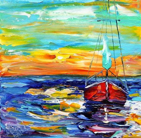 Sailboat Oil Painting by Original Oil Painting Red Sailboat Sunset Modern Palette