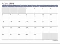 Kalender November 2018 zum Ausdrucken iKalenderorg