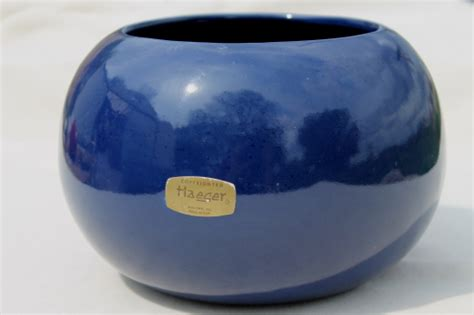 blue glaze haeger pottery  ball vase mod flower pot