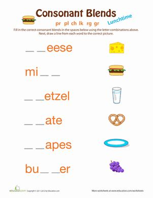lunchtime consonant clusters teaching phonatics
