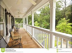 Upscale Front Porch Stock Image  Image Of Second  House