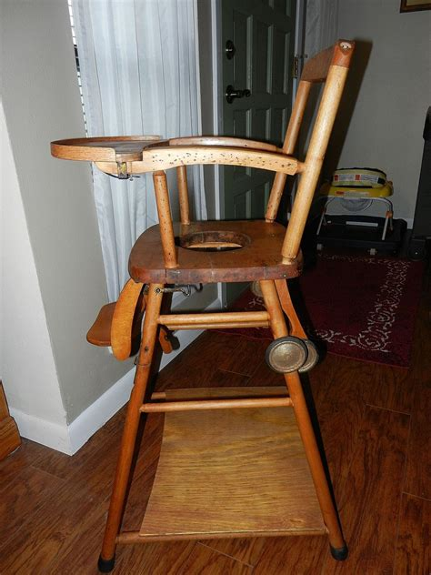 vintage wooden high chair potty chair  play chair