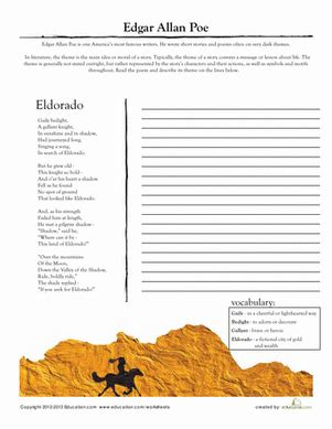 edgar allan poe quot eldorado quot worksheet education