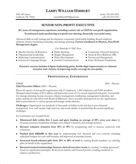 non profit executive resume sles exles