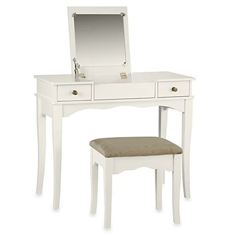 bed bath and beyond makeup vanity linon home kendal vanity set in white bed bath beyond