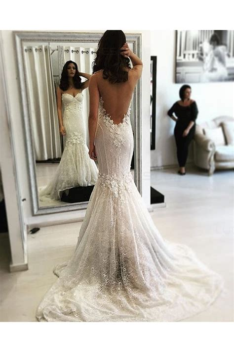 mermaid backless lace wedding dresses bridal gowns