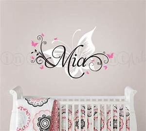 butterfly and custom name wall decal butterfly nursery With name wall decals