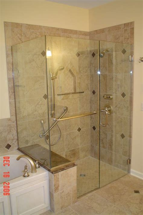 tile shower stalls with seat shower enclosure with