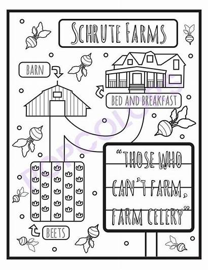 Coloring Office Pages Adult Farms Schrute 5pck
