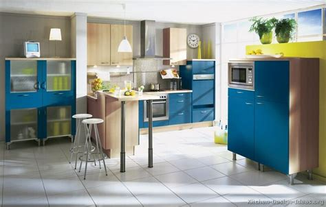 A Modern Blue Kitchen With Natural