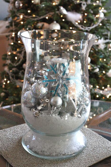 Large Glass Hurricane From Goodwill Filled With Christmas