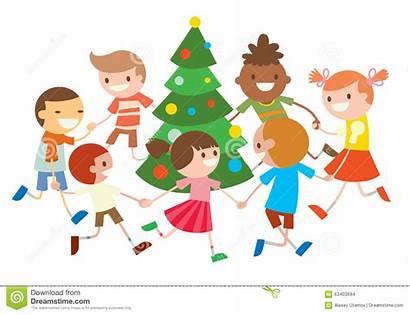 Christmas Dancing Tree Dance Children Around Clipart