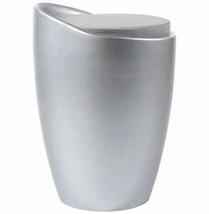 Tabouret Avec Rangement : tabouret bas design gris avec rangement ~ Teatrodelosmanantiales.com Idées de Décoration