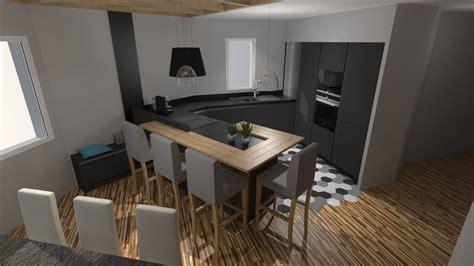 cuisine gris bois cuisine moderne gris anthracite mat et bois massif