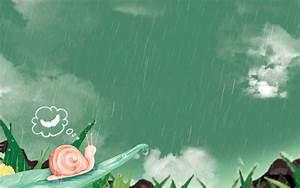 2D Snail Cartoon On Rain Wallpaper 35 Wallpaper ...