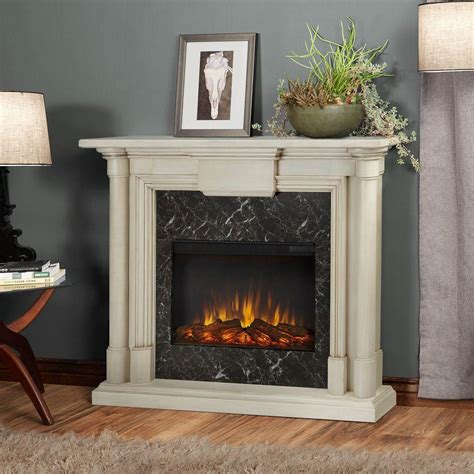 real flame maxwell   electric fireplace  whitewash