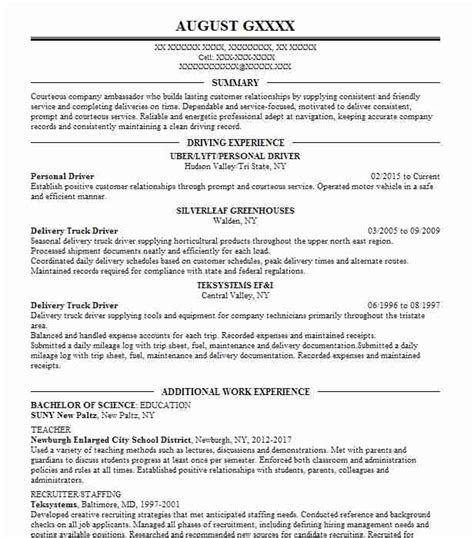 Personal Driver by Personal Driver Resume Sle Driver Resumes Livecareer