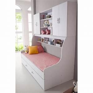 Lit enfant blanc 90x200 avec tiroir et rangement mural for Chambre design avec matelas bio 90x200