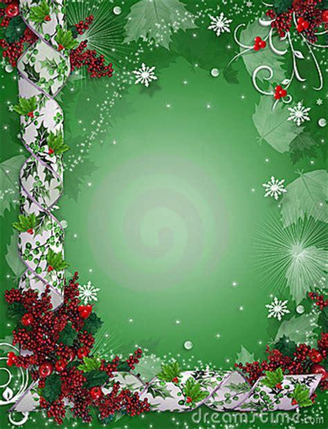 christmas border ribbons elegant holly royalty  stock