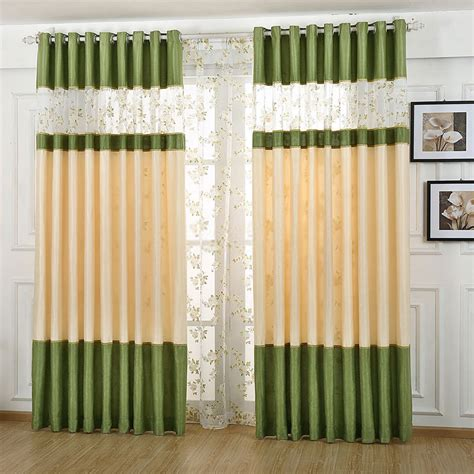 lively green beige living room curtain