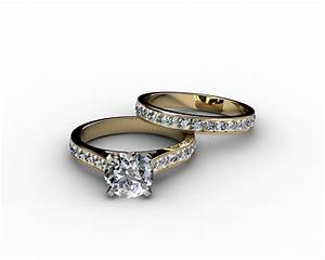 channel set cathedral diamond engagement ring wedding With channel wedding ring