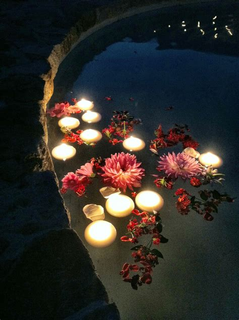 floating flowers  candles   fountain added  touch