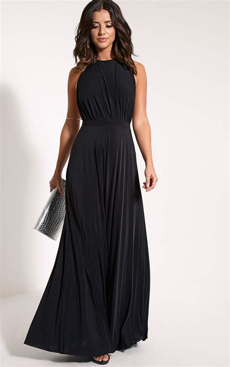 Pleated Black Maxi Dress | Dresscab