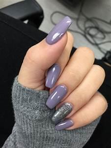 purple grey acrylic coffin shaped nails красивые ногти