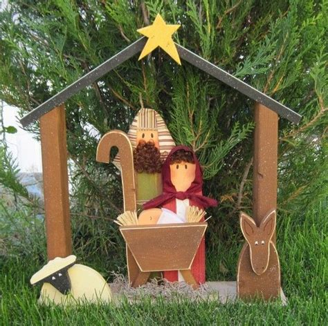 large wood nativity  christmas holiday noel baby