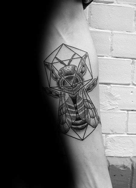 30 Icosahedron Tattoo Designs For Men - Geometric Shape Ink Ideas
