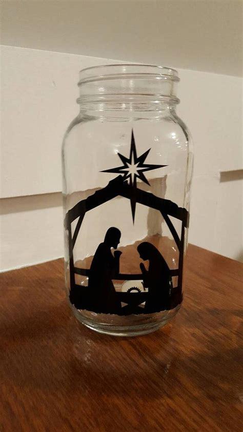 vinyl nativity scene mason jar nativity christmas