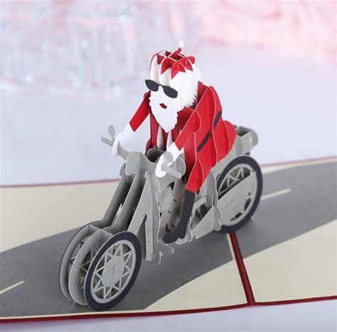 christmas  motorcycle santa claus pop  greeting card