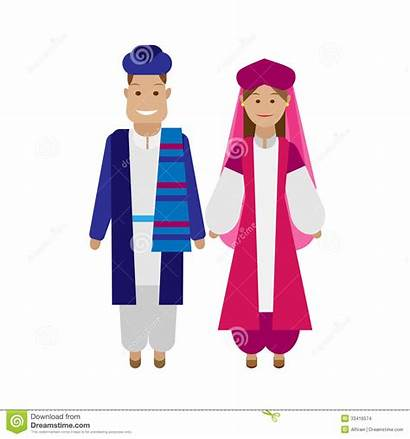 National Iranian Costume Illustration Background Vector