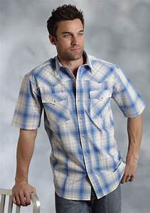 Men S Dress Shirt Size Chart Big And Roper Mens Blue Plaid Short Sleeve Pearl Snap Western Shirt