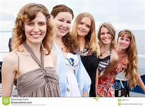 Five Young Beautiful Women In Line Royalty Free Stock ...