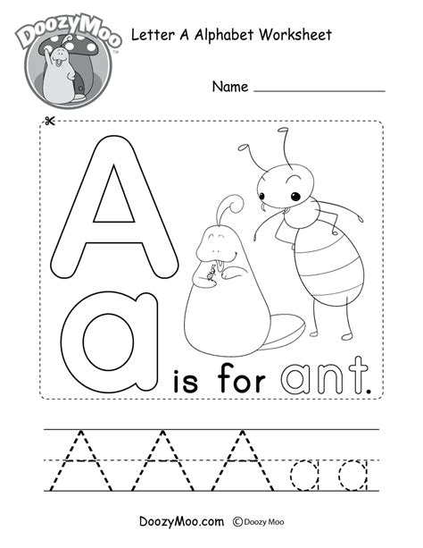 letter a activities alphabet book cover page free printable 22746