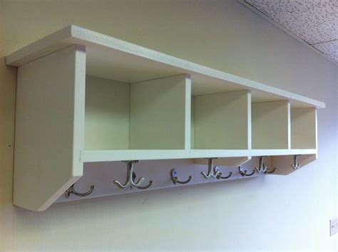 cubby shelf with hooks entryway shelf with cubbies and coat hooks handmade solid