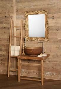 meuble vasque salle de bain en bois patine et blanc mat With meuble lavabo bois massif 6 meuble sous lavabo meubles salle de bains sous vasque