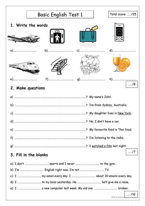 basic test 1 worksheet free esl printable