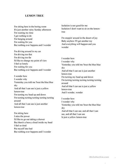 lemon tree lyrics english esl worksheets  distance