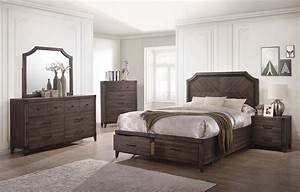 richmond dark gray oak storage panel bedroom set from With bedroom furniture sets richmond va