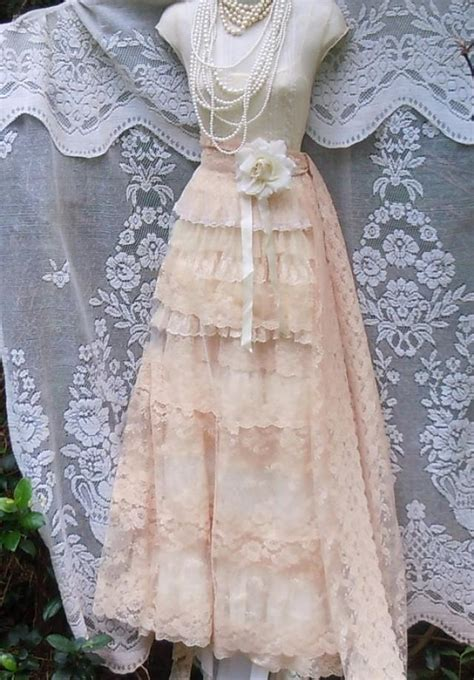 Vintage Opulence by Wedding Dress Lace Tulle Tiered Flapper Boho