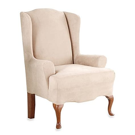 wingback chair slipcover sure fit stretch suede wingback chair slipcover bed