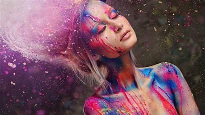 Paint Eyes Closed Beauty Fun Lady Streaks