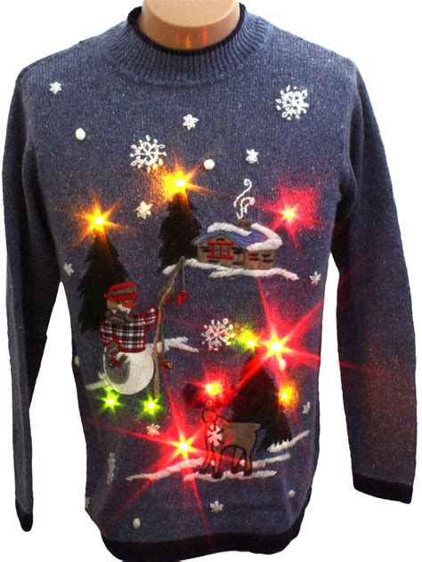 womens light up ugly christmas fishing snowman sweater