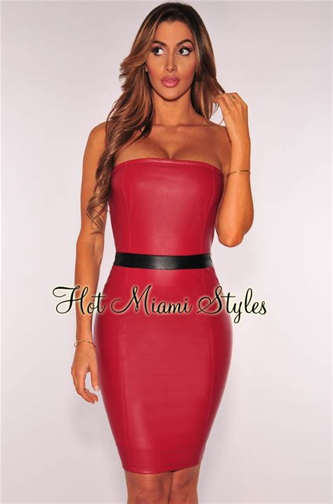 deep red faux leather strapless dress