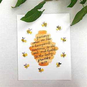 Bible Verse Wall Art Print Bee Nursery Decor Bee Art
