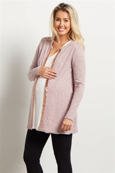light pink cardigan light pink heathered sequin accent knit maternity cardigan