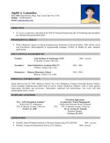 Resume Specimen by Resume Sle For Ojt Free Large Images